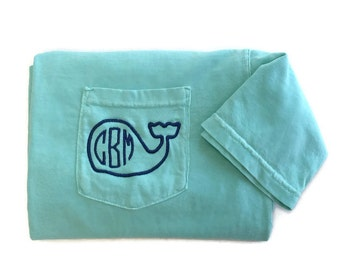 Monogram Shirt - Whale Monogram Pocket Tee - Comfort Colors -Short Sleeve T Shirt - Preppy Whale Shirt