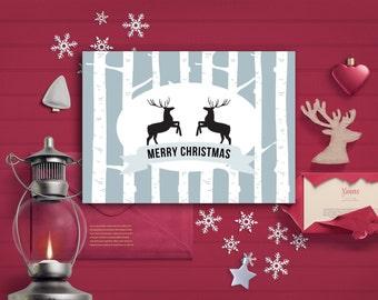 Printable Christmas Card, Deer Christmas Card, Merry Christmas Card Printable, Holiday Card, Modern Greeting card Digital File