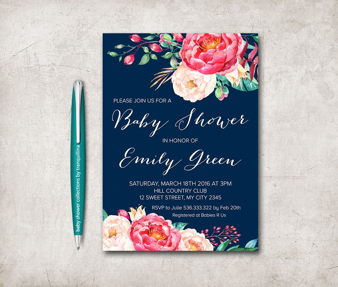 Floral Baby Shower Invitation