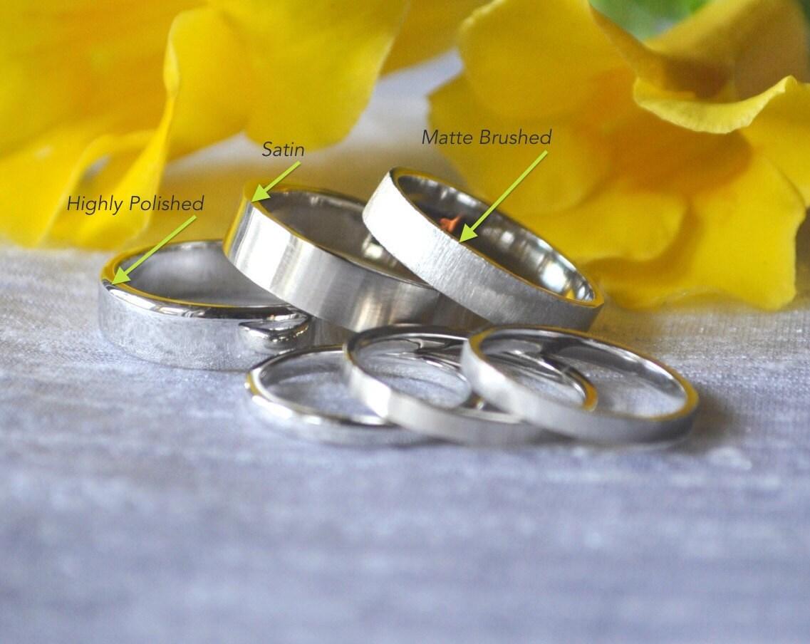 950 Platinum Mens Wedding Band 2mm 3mm 4mm 5mm 6mm 7mm 8mm