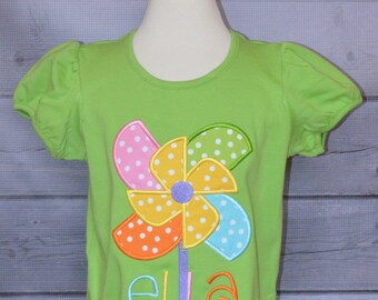 Personalized Pinwheel Applique Shirt or Onesie Girl