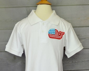 Personalized 4th of July Whale Flag on Polo Style Shirt for Boy or Girl