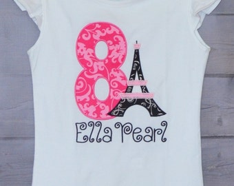 Personalized Pink Paris Eiffel Tower Birthday Applique Shirt or Onesie Girl