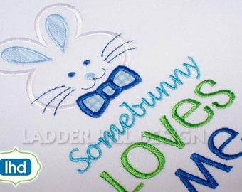 Some Bunny Loves Me Easter Machine Embroidery -- Easter Bunny Outline Applique Design No.  EA032