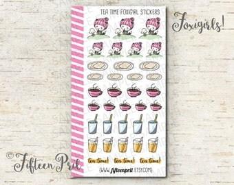 Tea Time foxigirl stickers -J577