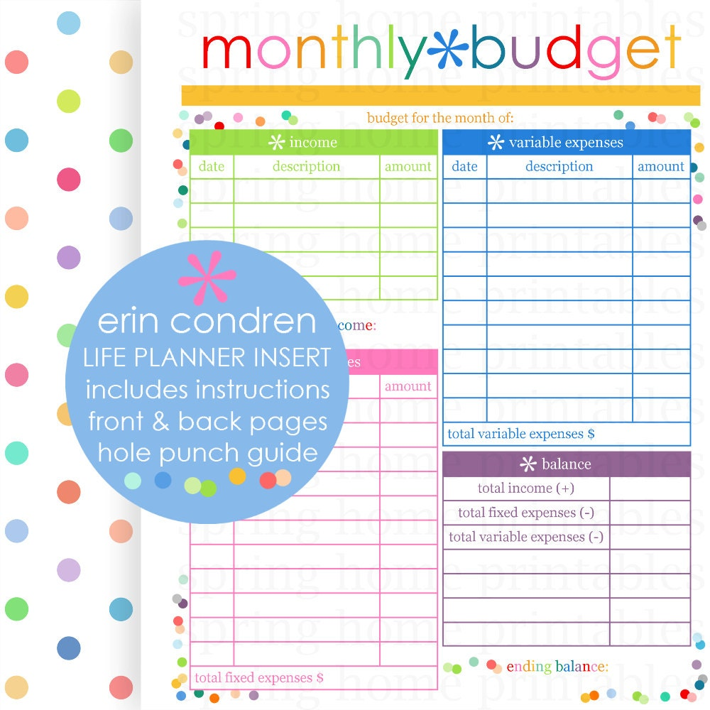 MONTHLY BUDGET Erin Condren Life Planner by SpringHomePrintables