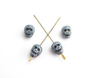 8 x Blue Skull Glass Czech Glass Beads, Glass Skull Beads, Skull Beads, Czech Skull Beads 12x9mm Beads SKL0001