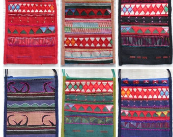 Colorful Assortment of Embroidered Satchels, Tribal Crossbody Bag, Akha Tribe Bags, Crossbody Boho Bag, Crossbody Gypsy Bag, Argyle Bag