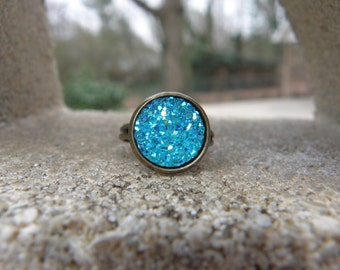 Aqua Druzy Ring - Adjustable Ring - Antique Brass Ring -  Boho Jewelry - Jewelry - Gifts For Her