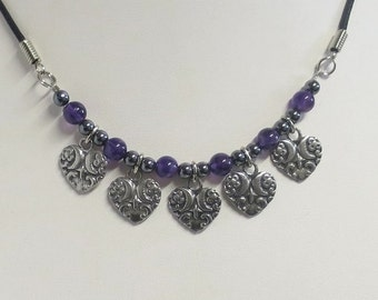 Gemstone charm necklace with heart charms