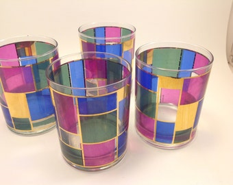 set of 4 Culver bar glasses vintage highball on the rocks jewel tone color block pattern with gold detail