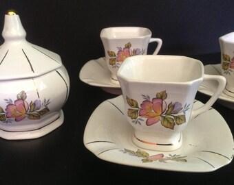 ceramic floral pattern demitasse tea set for 6 with sugar bowl