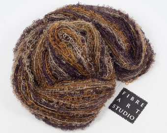Hand Dyed Yarn | Kid Mohair Boucle Loop Yarn | Purple-Brown, Gold, Taupe Variegated Yarn | Knitting, Crochet, Weaving Yarn from Vancouver