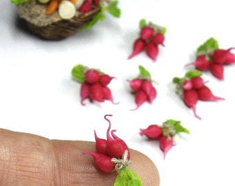 OOAK Bunch of radishes for dollhouses 1:12