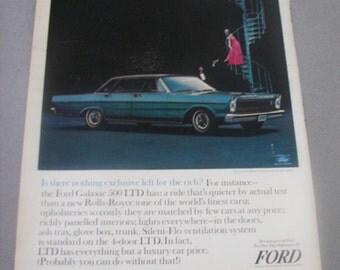 1965 Ford Galaxie 500 LTD vintage magazine print ad