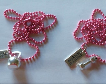 """YOU PICK Pink """"Weakness is a Choice"""" Necklace"""