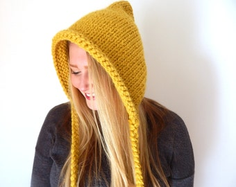 Pixie Knit Cap - Hooded Pixie Hat - Chunky Hooded Pixie Cap - Hooded Elf Hat // THE ELFIN// Custom Colors