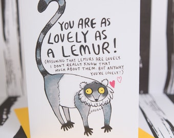 Lovely Lemur Greeting Card - Monkey - Cute card - Friend card - Thank you card - Well done - encouragement - birthday card - Katie Abey