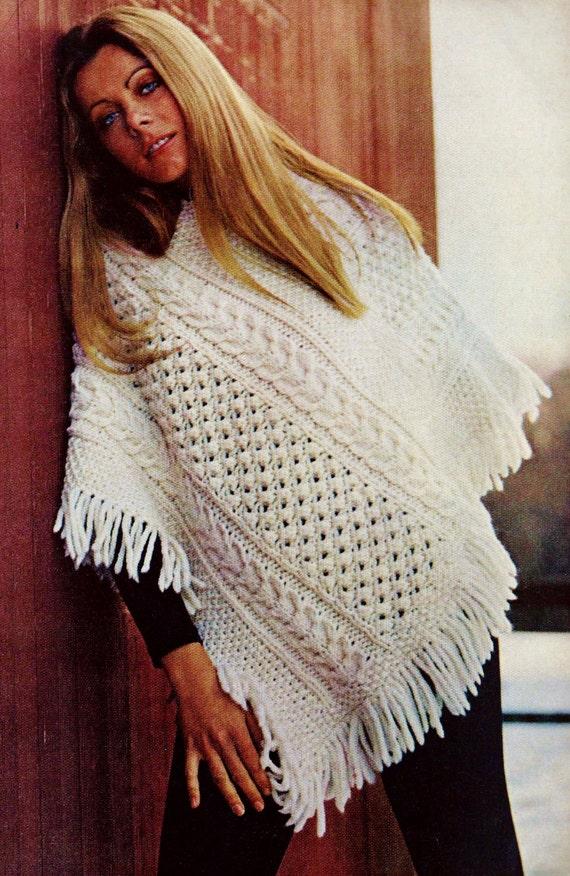 DIY Easy Irish Knit Poncho PDF Vintage Knitting by ...
