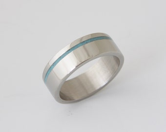 Mens Titanium and Turquoise wedding band turquoise ring titanium turquoise ring