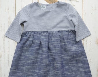 Girls Dress Bottom Frill 3/4 Sleeve Linen/Cotton