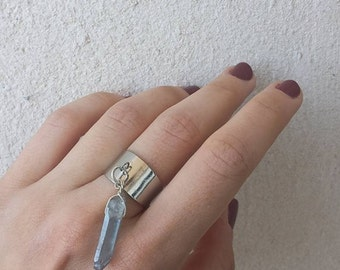 Silver Tone Ring, Tanzine Quartz Crystal, Adjustable Ring, Festival Jewelry