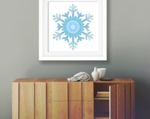 Blue holiday print snowflake wall art boho christmas decor bohemian mandala teal bedroom decor festive wall art white turquoise print poster
