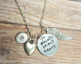 Always In My Heart Memorial Necklace - Custom Memory Necklace - Personalized Necklace