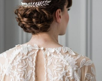 Edwardian Leaf Comb, Silver leaf comb, leaf comb, bridal comb, boho, bohemian, bridal hair pieces, bridal headpiece, silver leaf comb #203
