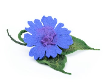 Felted wool brooch - felt cornflower brooch - blue wool brooch with meadow flowers - royal blue flower brooch, wool cornflower jewelry [B14]