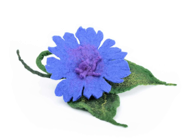 Felted Wool Brooch Felt Cornflower Brooch Blue Wool Brooch