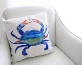 Crab Pillow, Sea Creature Pillow, Crab Decor, Nautical Pillow, Sea Life Throw Pillow Cover, Home Decor, Accent Pillow, Unique Gifts, Blue