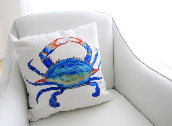 Crab Pillow Sea Creature Pillow Crab Decor Nautical Pillow