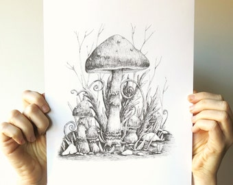 Print A4 Vintage Mushrooms illustration - eco paper