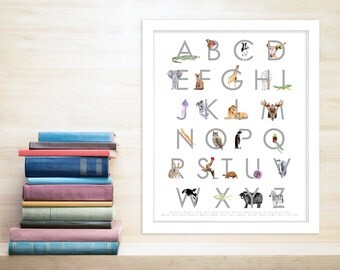 Gray Alphabet Art - Alphabet Nursery Art - Animal Alphabet Print - Animal Letters - ABC Wall Art - Nursery Alphabet Print - Alphabet Letters