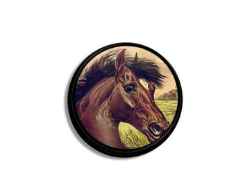 Brown Horse Drawer Pull Knob - Western, Ranch Decor, Animal, Equestrian - Southwest, Dresser Knob, Cabinet, Handle - Handmade - 1214OO