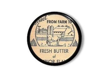 Vintage Ads Ephemera Kitchen Drawer Knob - Retro, Newsprint, Fresh Butter, Peach Ad, Farmhouse, Farm, Country - Pull, Cabinet Door - 315A16