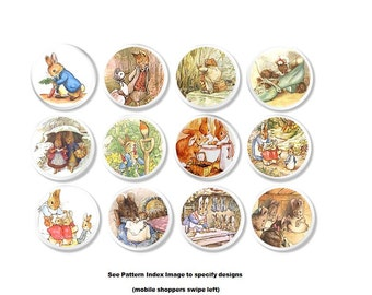Beatrix Potter Storybook Dresser Knobs - Peter Rabbit Drawer Pull, Bunny - Baby Nursery Cabinet, Shower Gift, Vintage Illustrations - 515A7