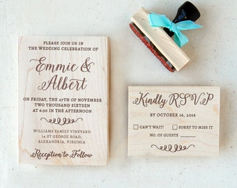 Wedding Invitation Stamp Suite #2 - Calligraphy - Personalized - Invitation, RSVP, Return Address Stamp