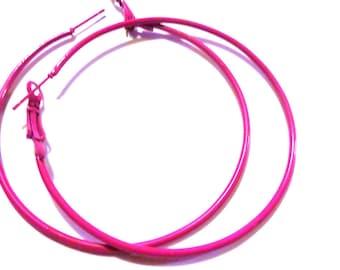 2 inch Hoop Earrings Pink Hoop Earrings Classic Thin Hoop Earrings