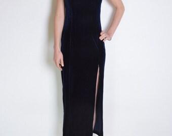 90's navy velvet midi dress, navy blue velvet long dress, maxi minimalist slit grunge dress, strappy, evening bodycon dress with straps