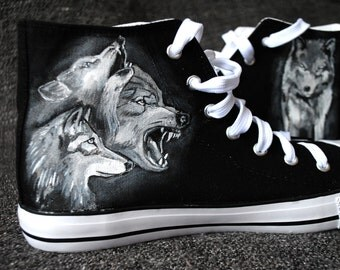 Personalized handpainted shoes, Wolves Shoes, wolf, personalized sneakers