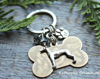 Greyhound Whippet Key Chain, Greyhound Gift, Whippet Gift, Dog Lover Gift, Dog Key Chain
