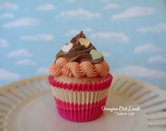 Fake Cupcake JUMBO Valentine Conversation Hearts Handmade Candy