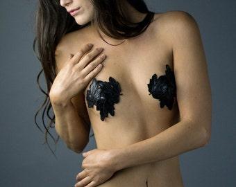Black Leaf Pasties, Black Leather Pasties, Leather Nipple Pasties, Black Pasties, Black Nipple Pasties, Burlesque Pasties, Cosplay Pasties