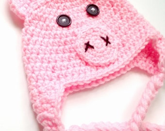 PATTERN** Crochet Pig Hat Pattern, All Sizes, Newborn to Adult
