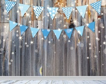 Party Decor, Baby Photography Backdrop, Wood Wall Photo Prop, Baby Boy Blue Bunting Banner, White Wood Floor Drop
