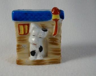 Occupied Japan - 4 inch dog house with dog tooth pick holder 1945 - 1951