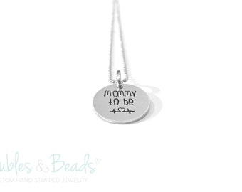 Hand Stamped Necklace - Mommy To Be Necklace - New Mother Gift - Heartbeat Necklace - Personalized Pregnancy Necklace - Expecting Mom - Baby