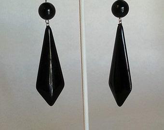 Black Dot drop earrings